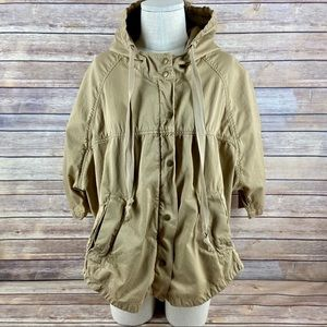 Current Elliot Cadet Poncho Hooded Tan Zip Jacket